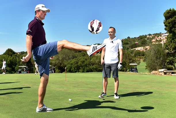 Justin Rose shows off his keepy uppy skills under the watchful eye of FC Barcelona star Andres Iniesta who had earlier engaged in a putting challenge with the Costa Smeralda Invitational host and Hublot ambassador