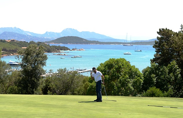 Kapil Dev holes a crucial putt on Pevero GC's stunning 15th green en-route to winning the Costa Smeralda Invitational's coveted Blue Jacket